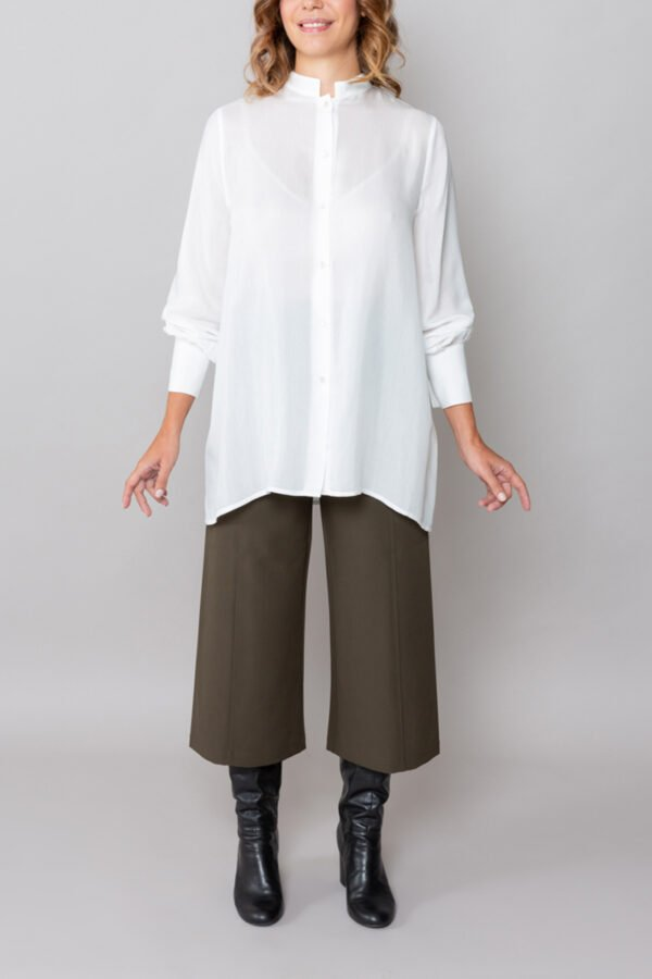 camicia tokio roderi collo alla coreana abbigliamento donna inclusivo made in italy