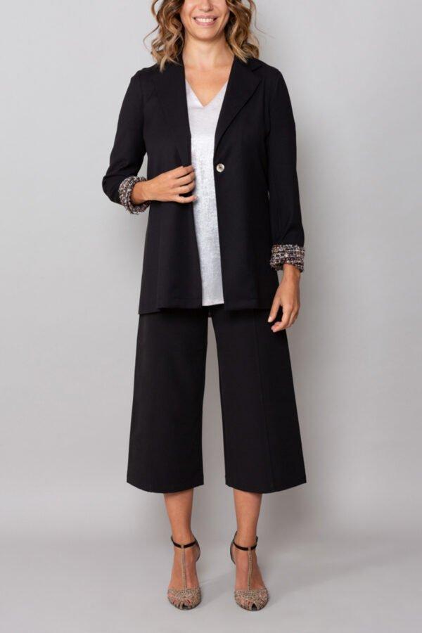 panta capri nero roderi comodo elegante con baschina inverno