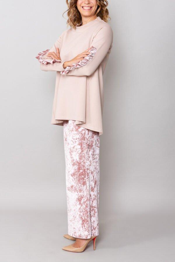 panta firenze velluto cipria roderi comodo elegante con baschina inverno