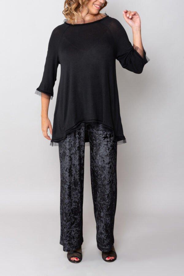 panta firenze velluto nero roderi comodo elegante con baschina inverno