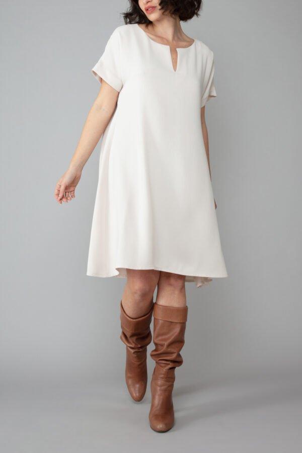 abito milano bianco magnolia corto mezze maniche moda inclusiva comodo elegante