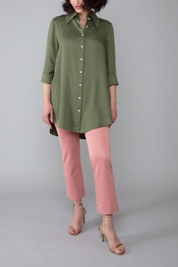 camicia milano verde militare maniche a tre quarti elegante abbigliamento comodo made in italy