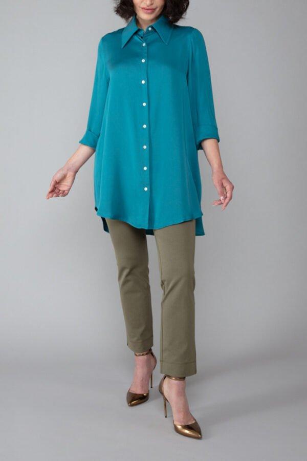 camicia milano turchese maniche a tre quarti elegante abbigliamento comodo made in italy
