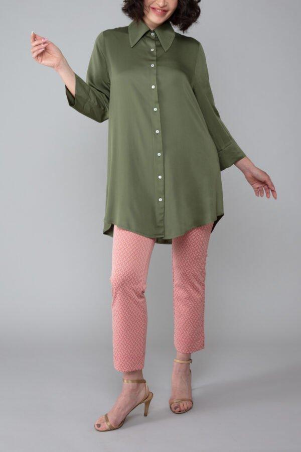 panta audrey fantasia rosa con baschina comodo elegante moda made in italy