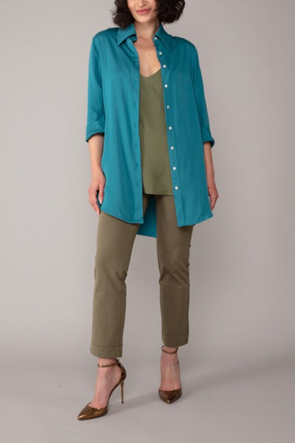 panta audrey verde militare con baschina comodo elegante moda made in italy