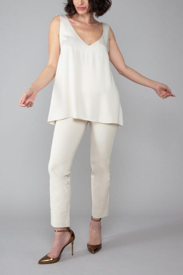 panta audrey sabbia con baschina comodo elegante moda made in italy