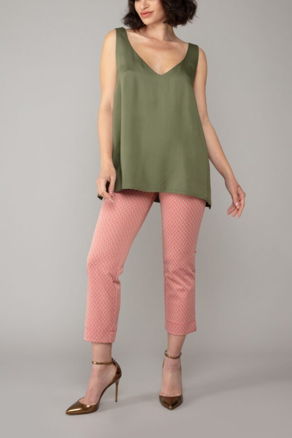 panta bb fantasia rosa con baschina comodo elegante moda made in italy