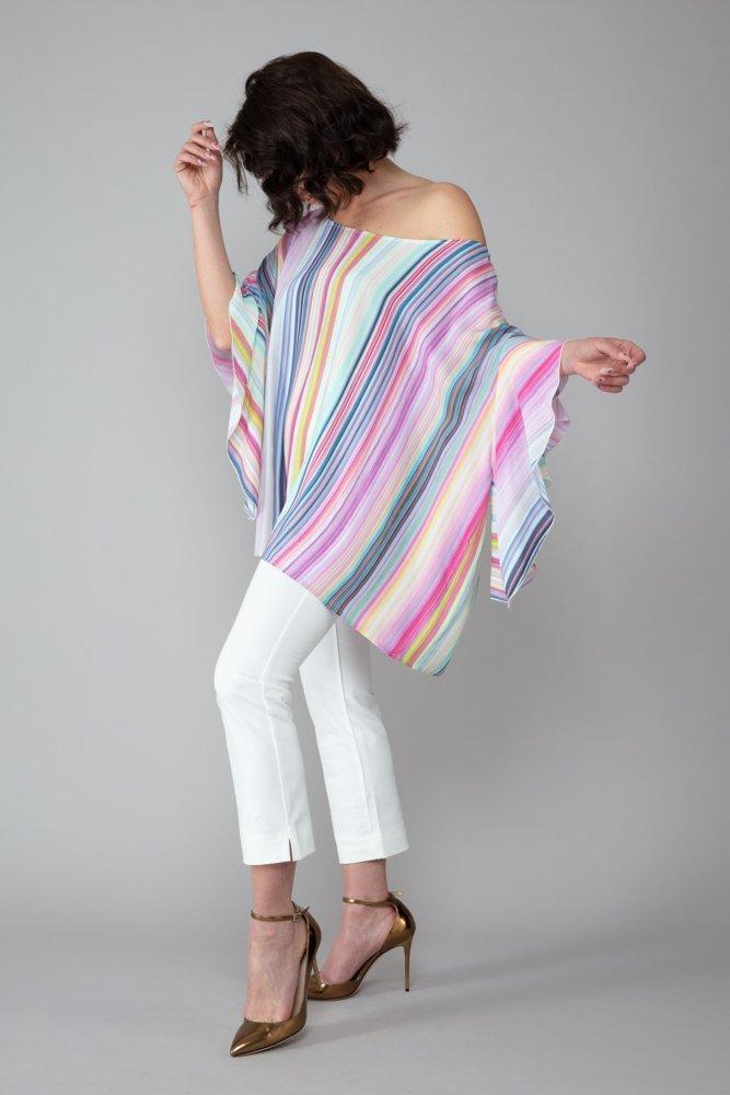 top capri fantasia arcobaleno maniche voulant elegante abbigliamento comodo made in italy