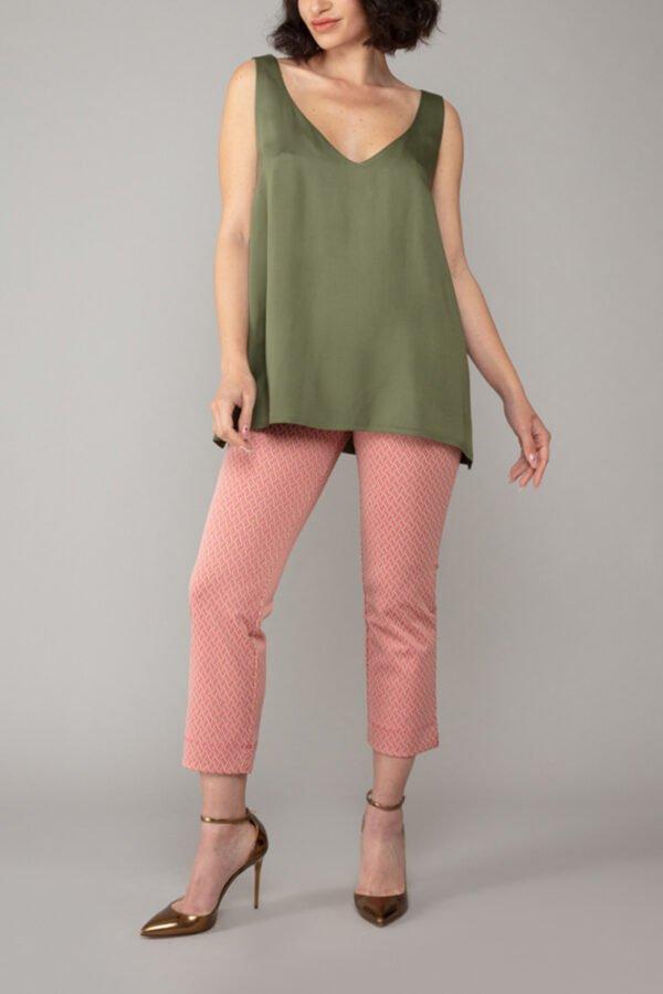 top paros verde militare elegante abbigliamento comodo made in italy