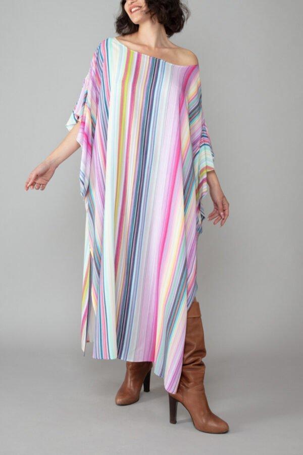 abito caftano ponza fantasia arcobaleno davanti comodo elegante inclusivo