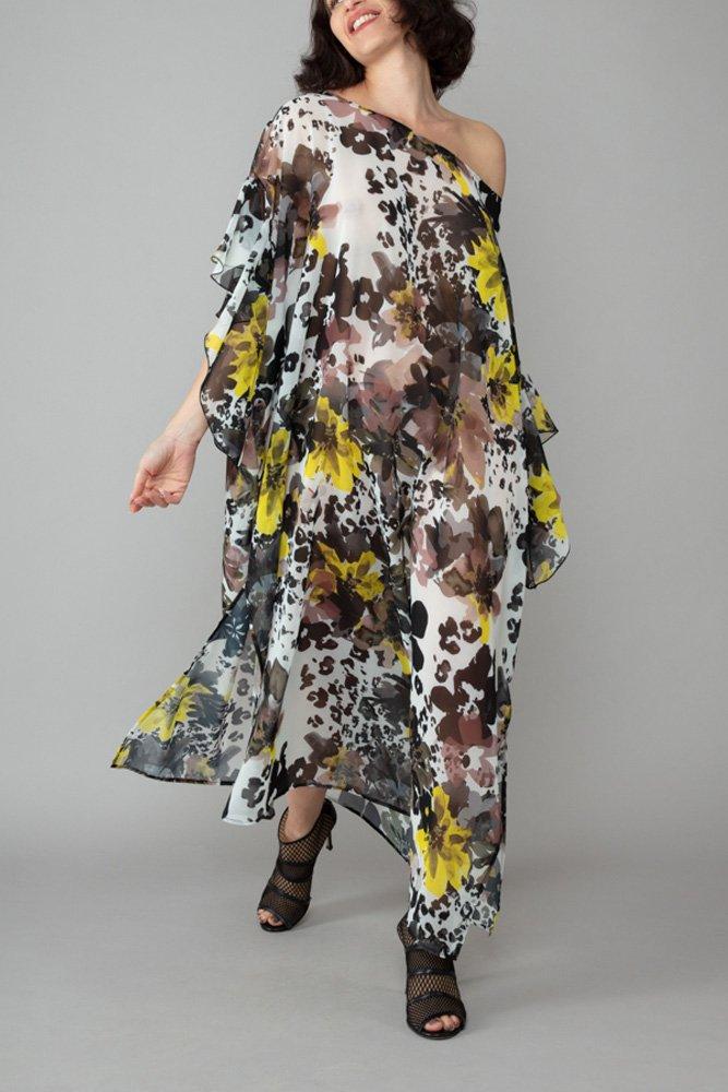 abito caftano ponza giallo fango davanti comodo elegante inclusivo