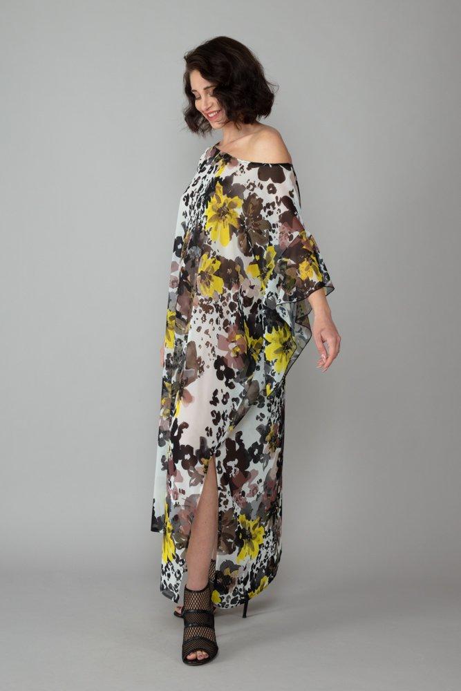abito caftano ponza giallo fango lato comodo elegante inclusivo