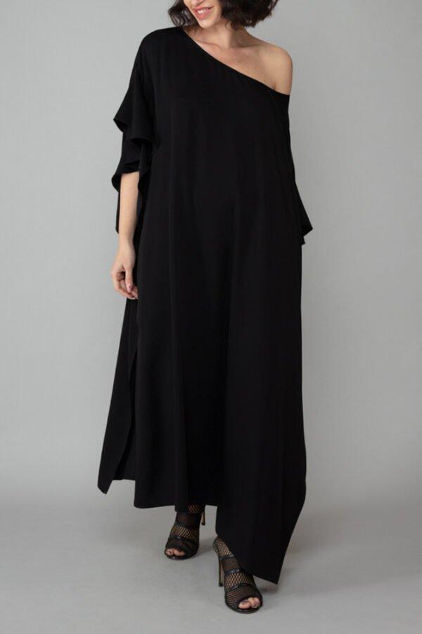 abito caftano ponza nero davanti comodo elegante inclusivo