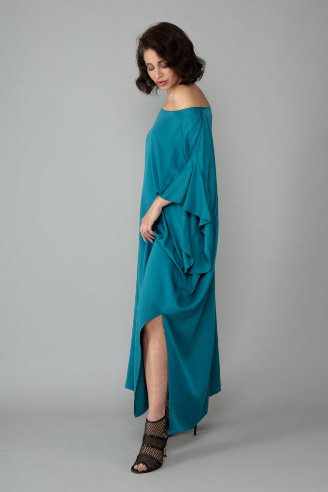 abito caftano ponza turchese lato comodo elegante inclusivo